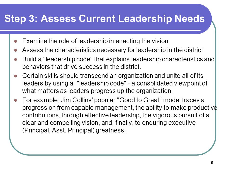 Step 3: Assess Current Leadership Needs