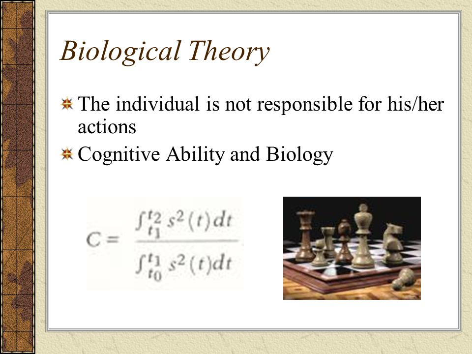 Biological Theory The individual is not responsible for his/her actions.