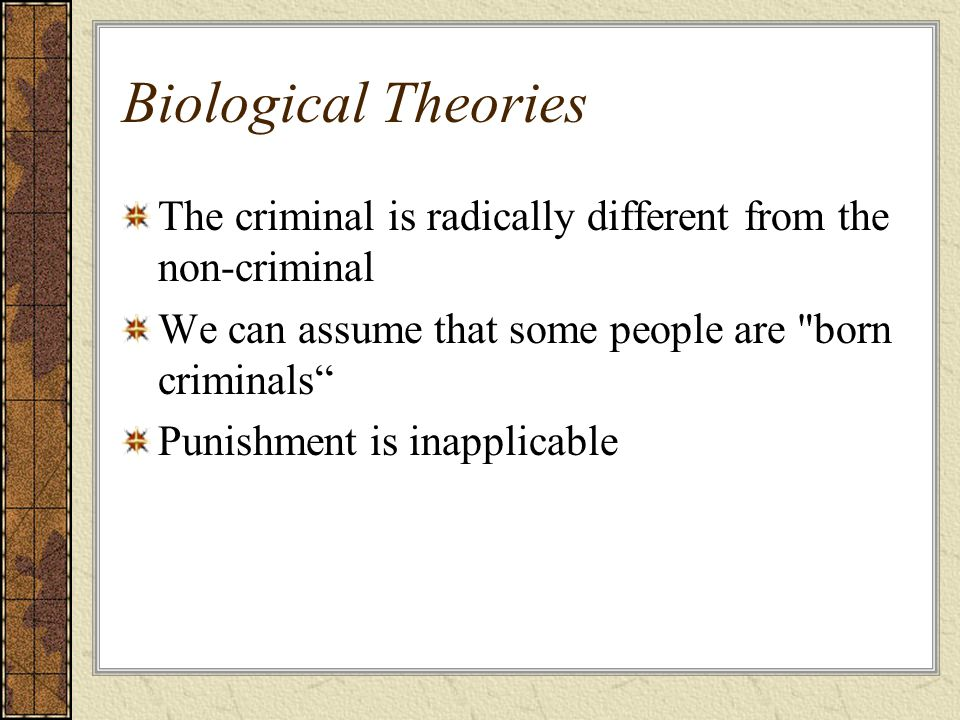 Biological Theories The criminal is radically different from the non-criminal. We can assume that some people are born criminals