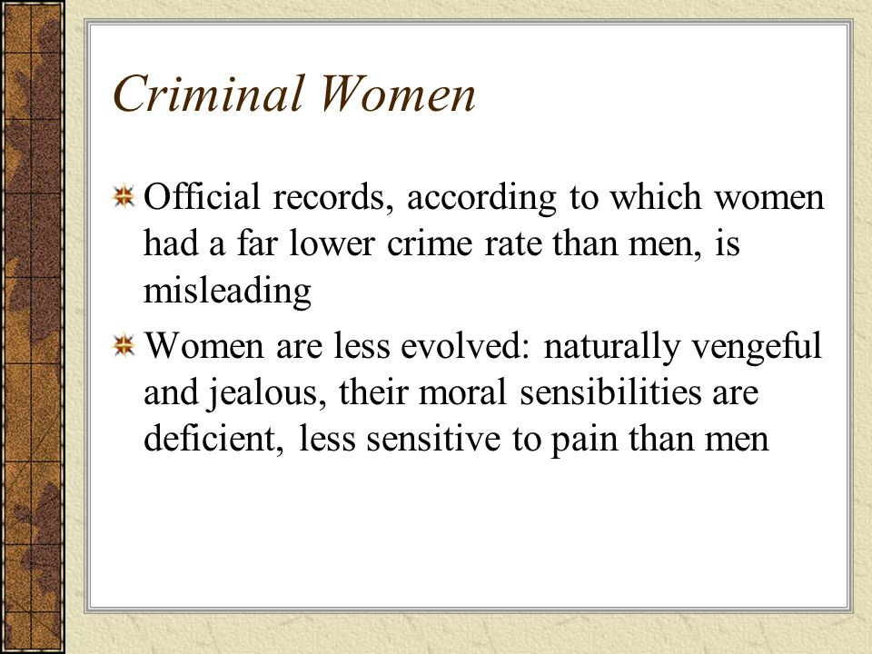 Criminal Women Official records, according to which women had a far lower crime rate than men, is misleading.