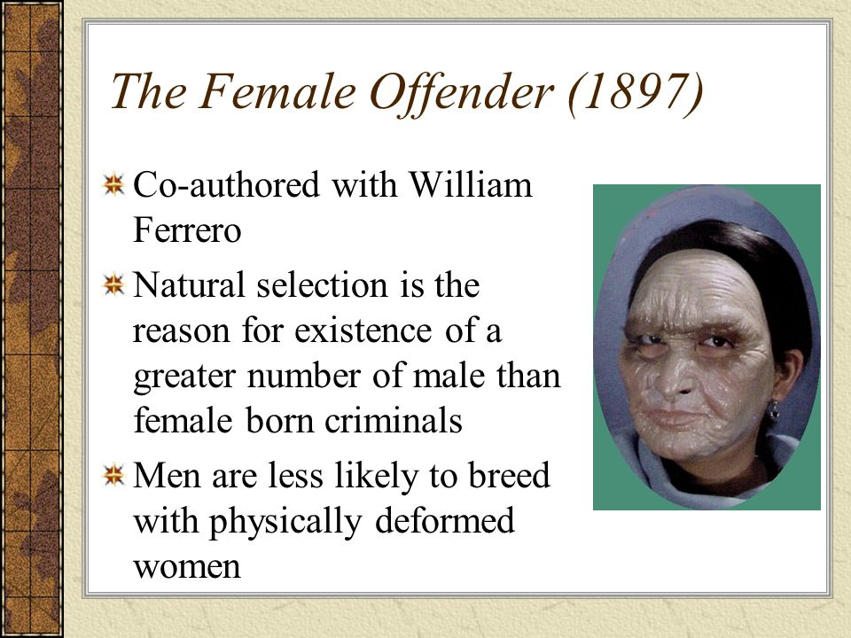 The Female Offender (1897) Co-authored with William Ferrero