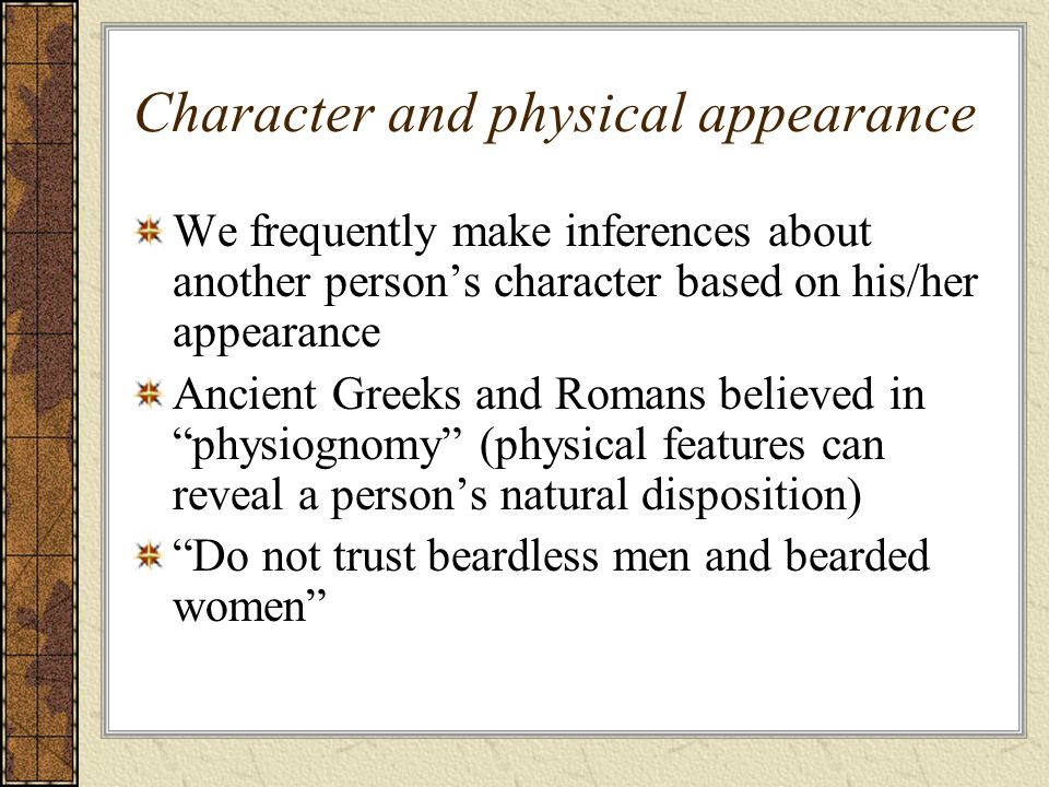Character and physical appearance