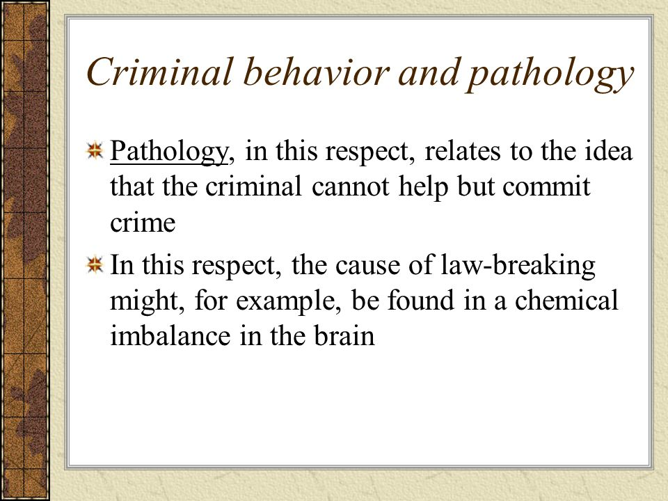 Criminal behavior and pathology