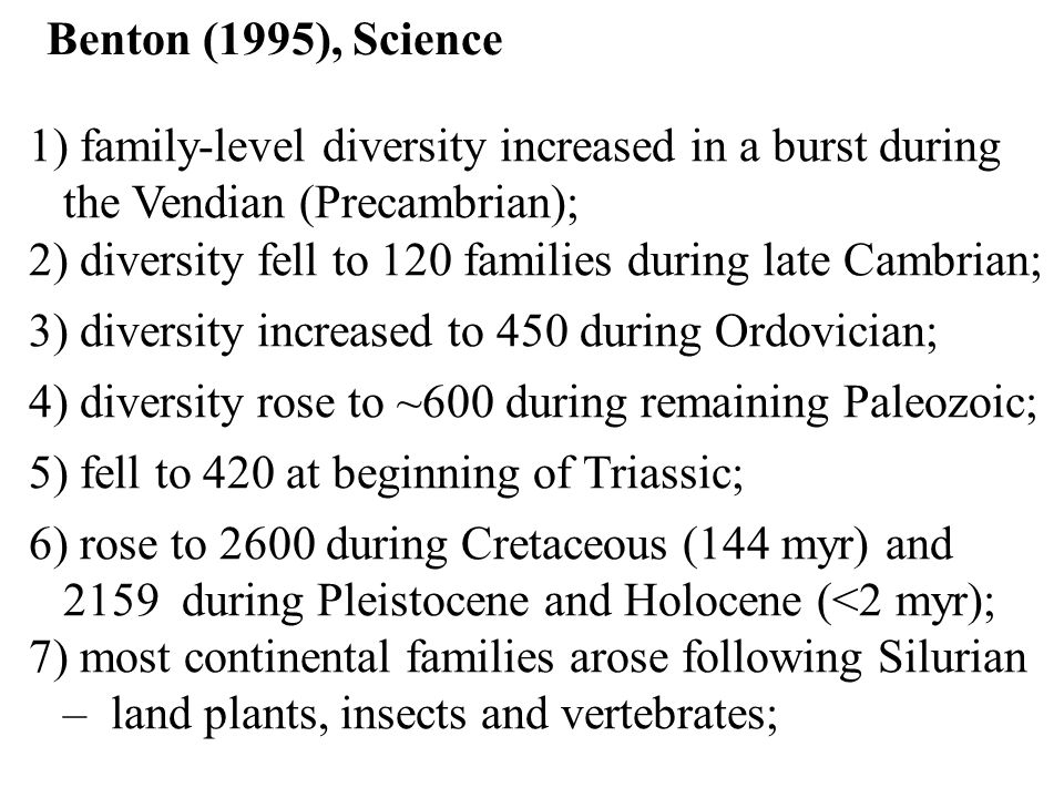 Benton (1995), Science 1) family-level diversity increased in a burst during the Vendian (Precambrian);