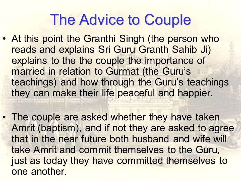 The Advice to Couple