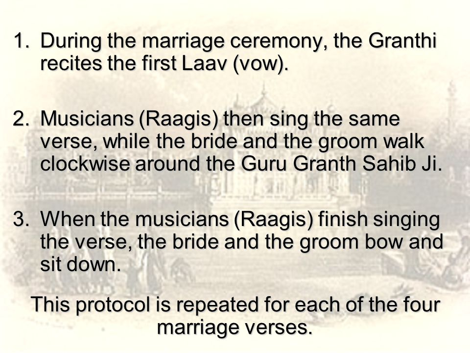 This protocol is repeated for each of the four marriage verses.