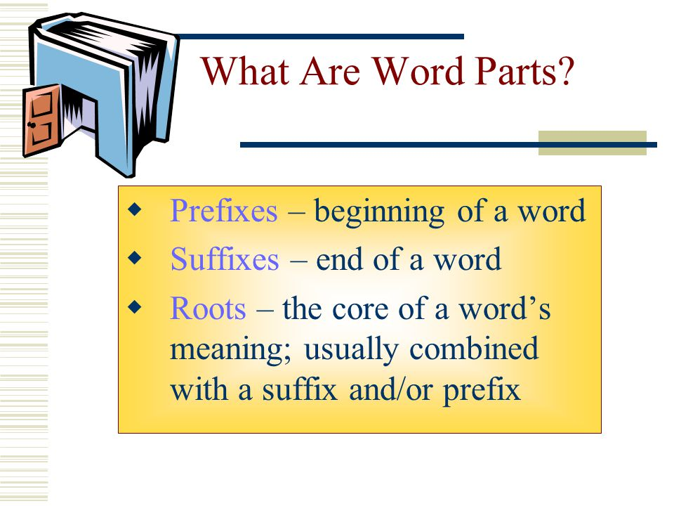 What Are Word Parts Prefixes – beginning of a word