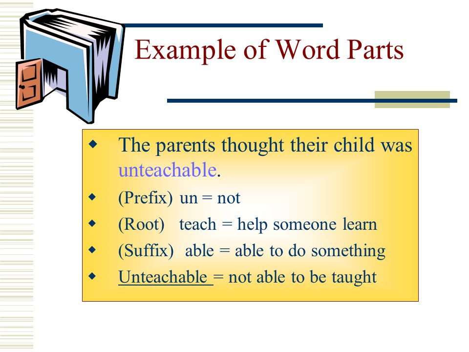 Example of Word Parts The parents thought their child was unteachable.