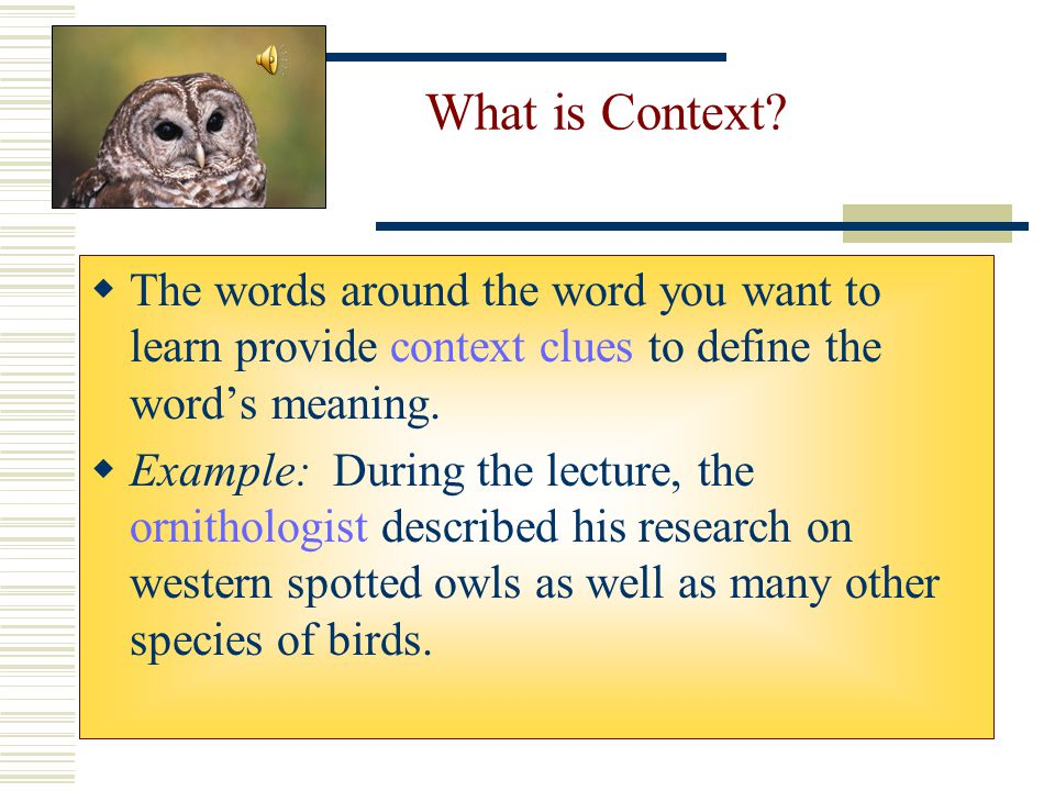 What is Context The words around the word you want to learn provide context clues to define the word's meaning.