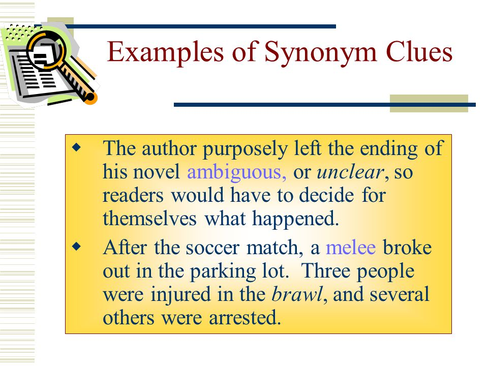 Examples of Synonym Clues