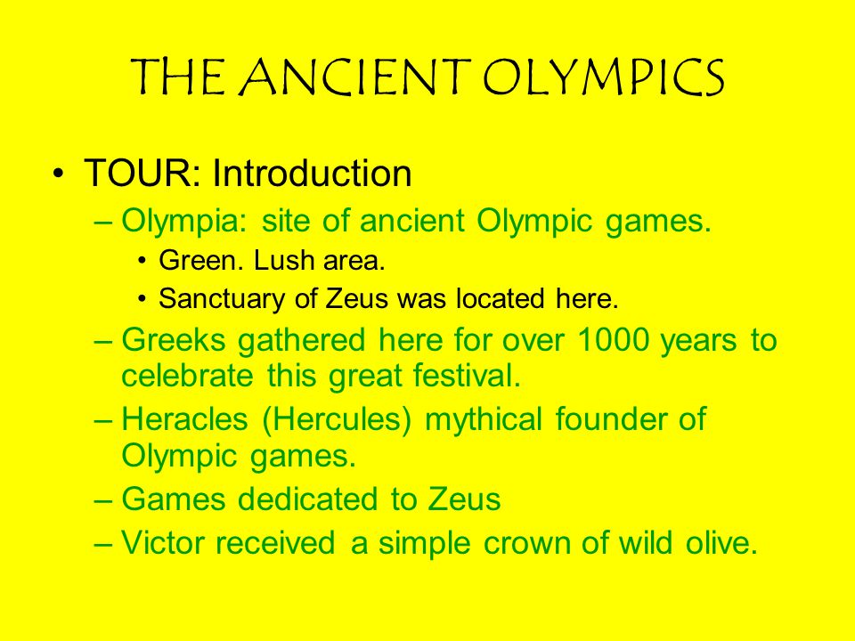 THE ANCIENT OLYMPICS TOUR: Introduction