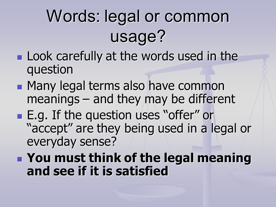 Words: legal or common usage