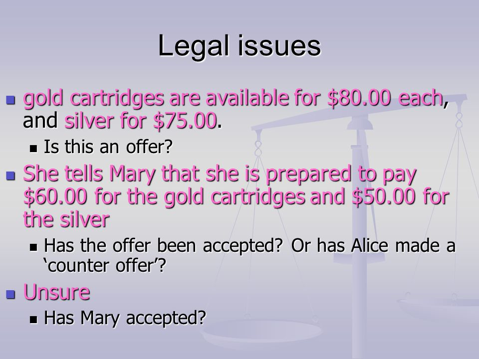 Legal issues gold cartridges are available for $80.00 each, and silver for $75.00. Is this an offer