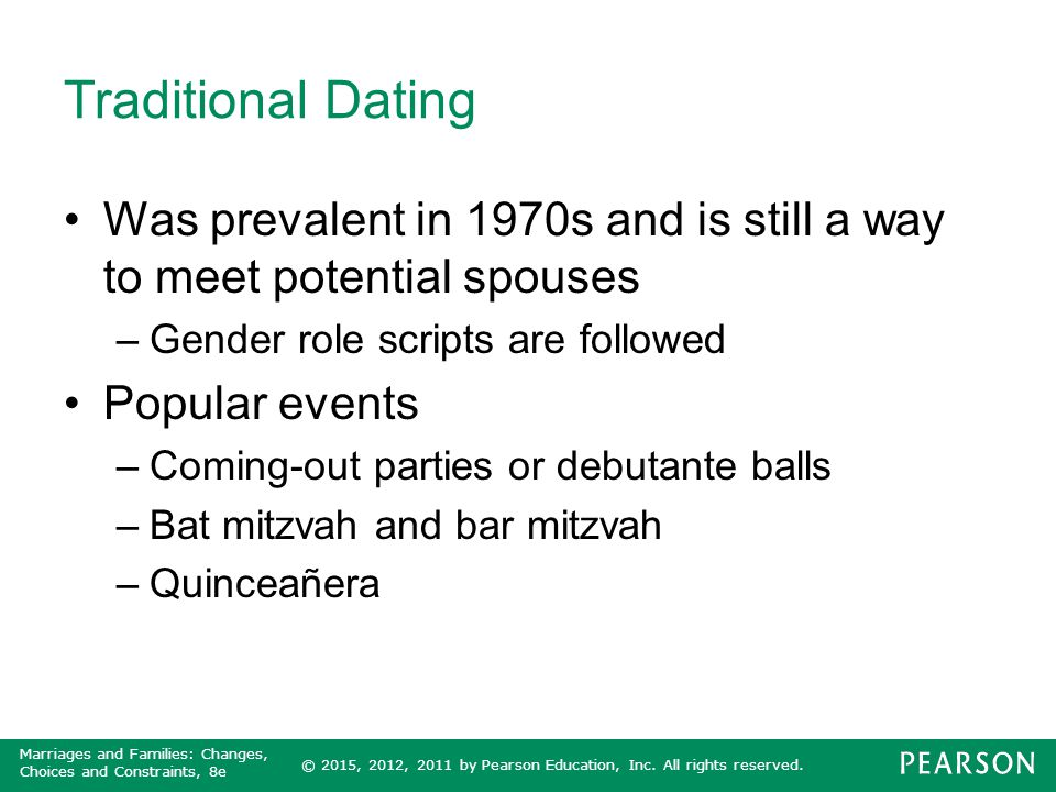 Traditional Dating Was prevalent in 1970s and is still a way to meet potential spouses. Gender role scripts are followed.