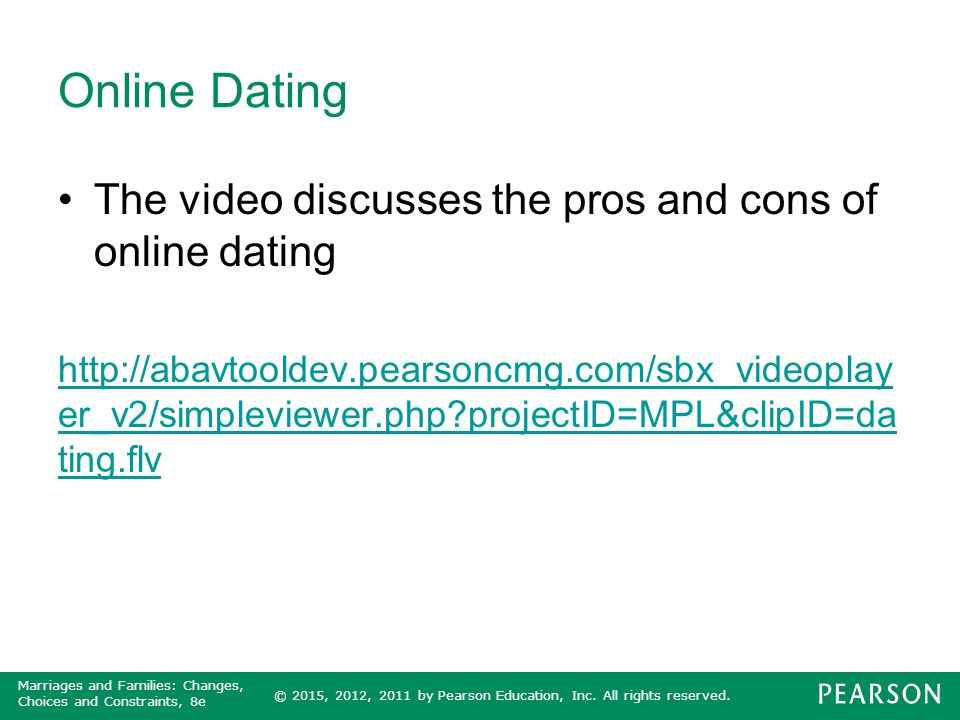Online Dating The video discusses the pros and cons of online dating