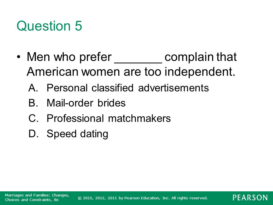 Question 5 Men who prefer _______ complain that American women are too independent. Personal classified advertisements.