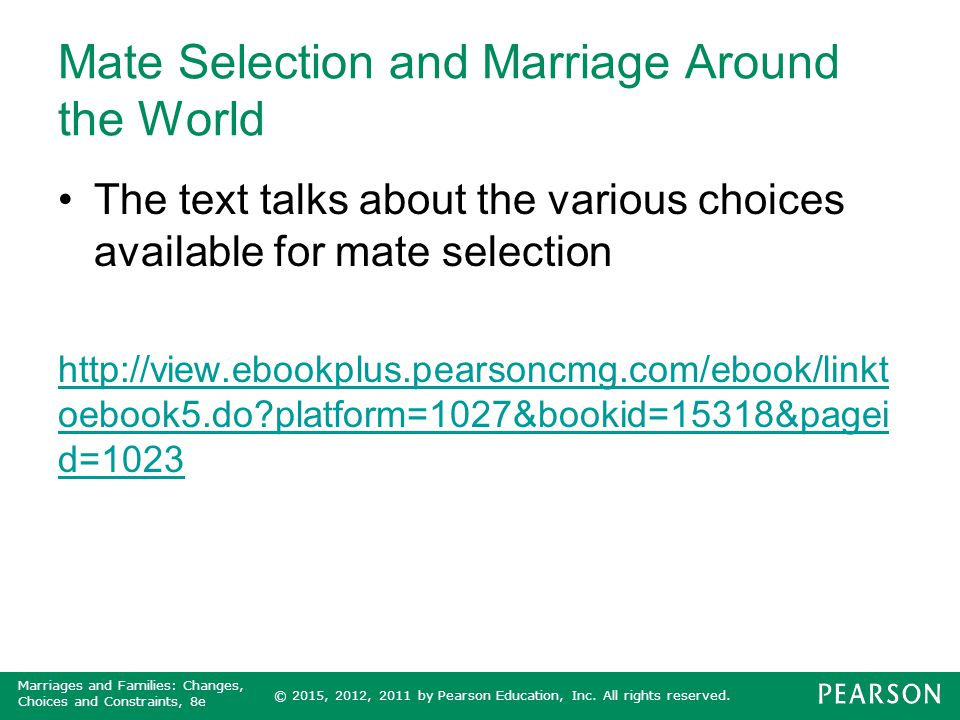 Mate Selection and Marriage Around the World