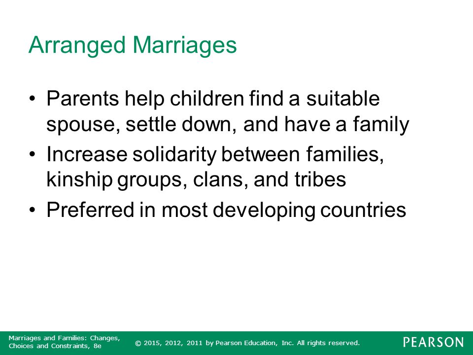 Arranged Marriages Parents help children find a suitable spouse, settle down, and have a family.