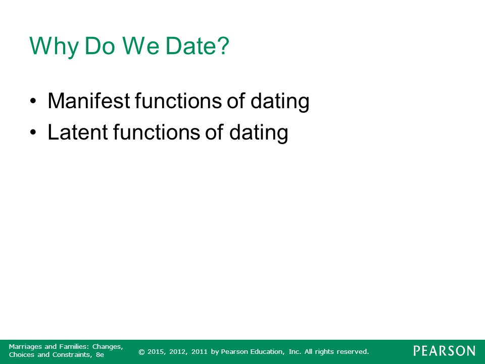 Why Do We Date Manifest functions of dating