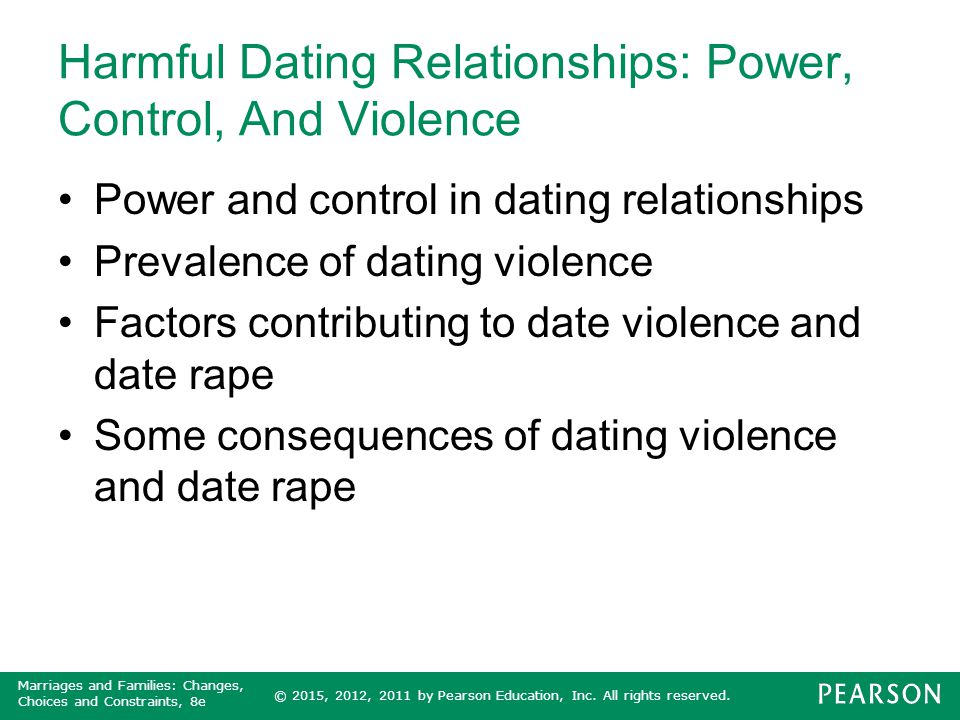 Harmful Dating Relationships: Power, Control, And Violence