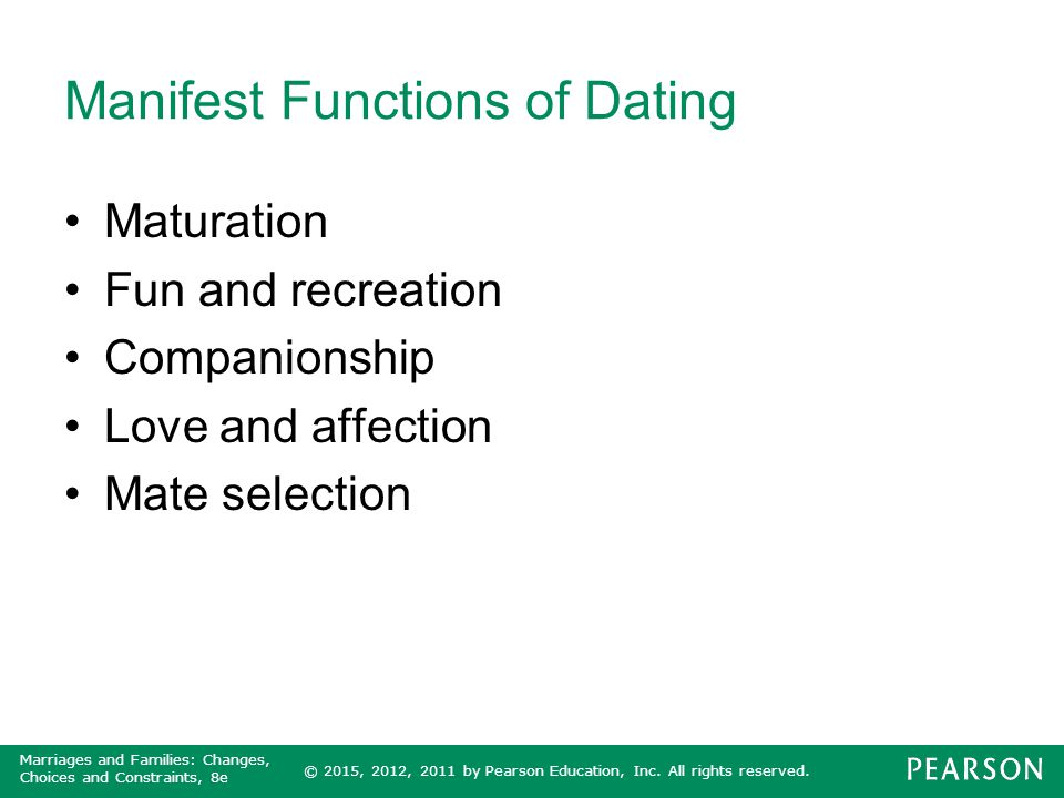 Manifest Functions of Dating
