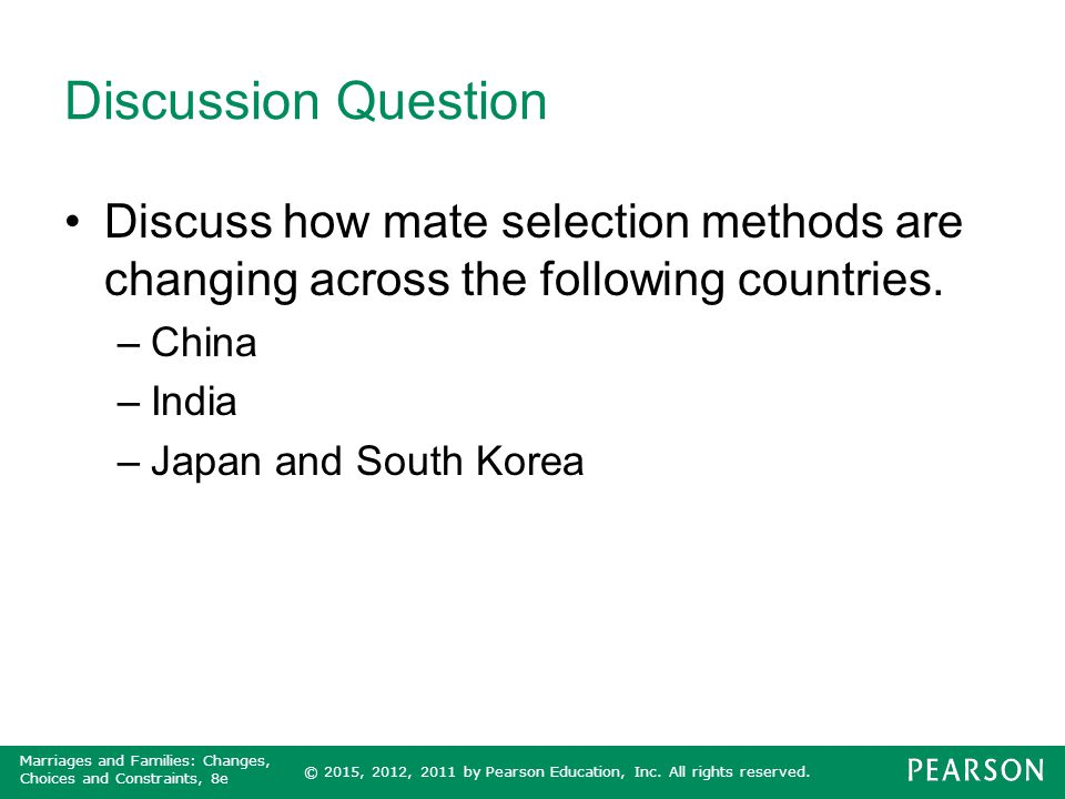 Discussion Question Discuss how mate selection methods are changing across the following countries.