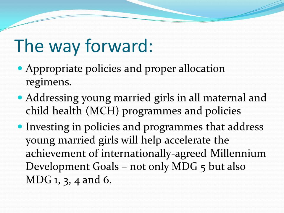 The way forward: Appropriate policies and proper allocation regimens.