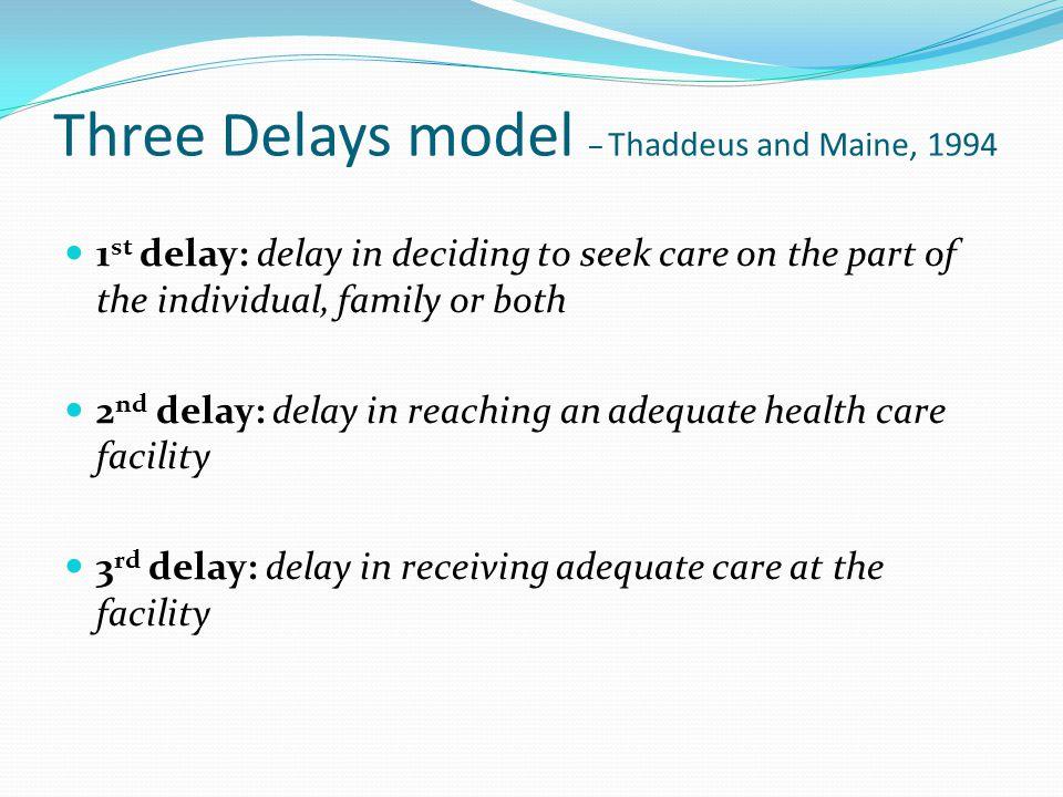 Three Delays model – Thaddeus and Maine, 1994