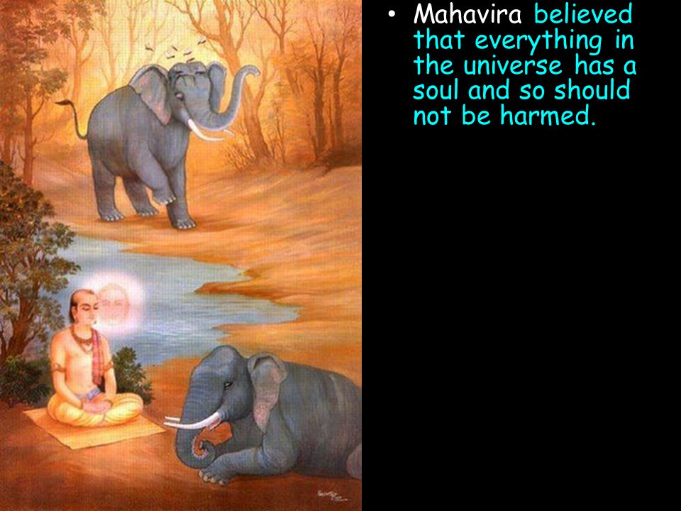Mahavira believed that everything in the universe has a soul and so should not be harmed.