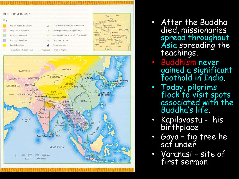 After the Buddha died, missionaries spread throughout Asia spreading the teachings.
