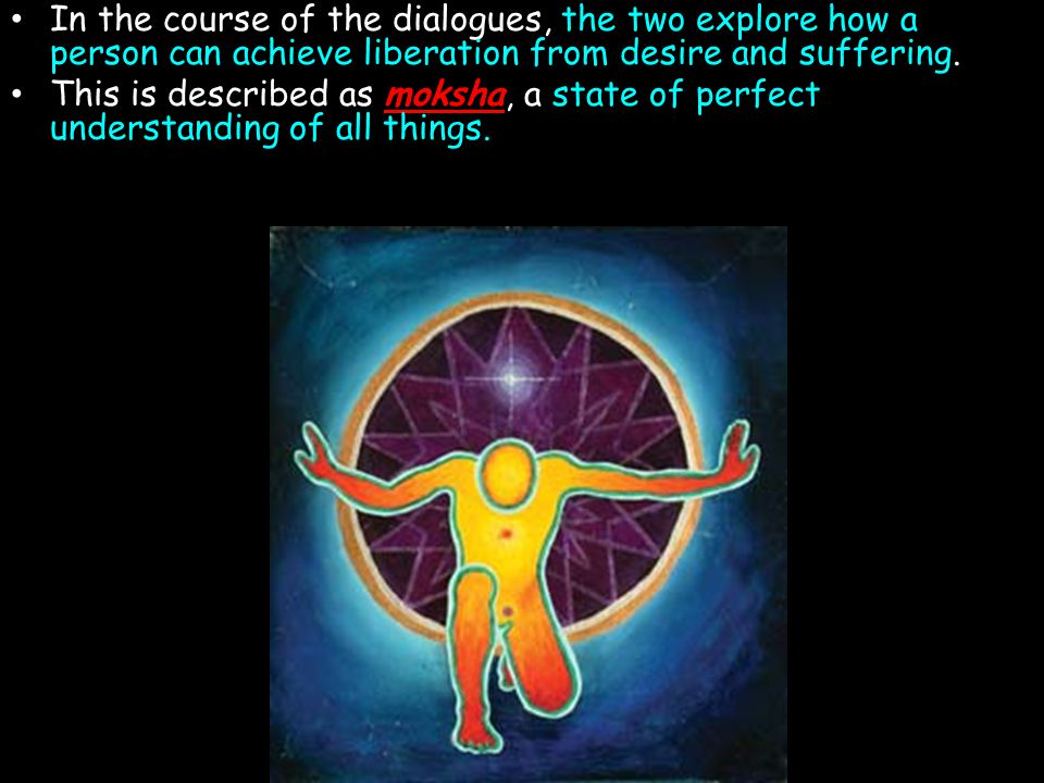 In the course of the dialogues, the two explore how a person can achieve liberation from desire and suffering.