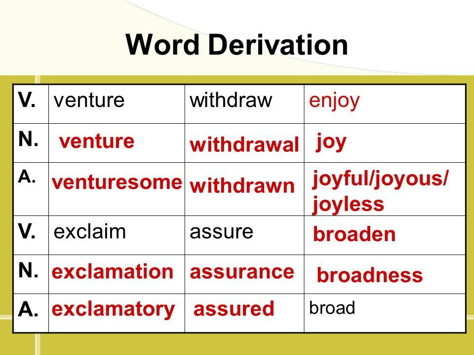 Word Derivation V. venture withdraw enjoy N. exclaim assure venture