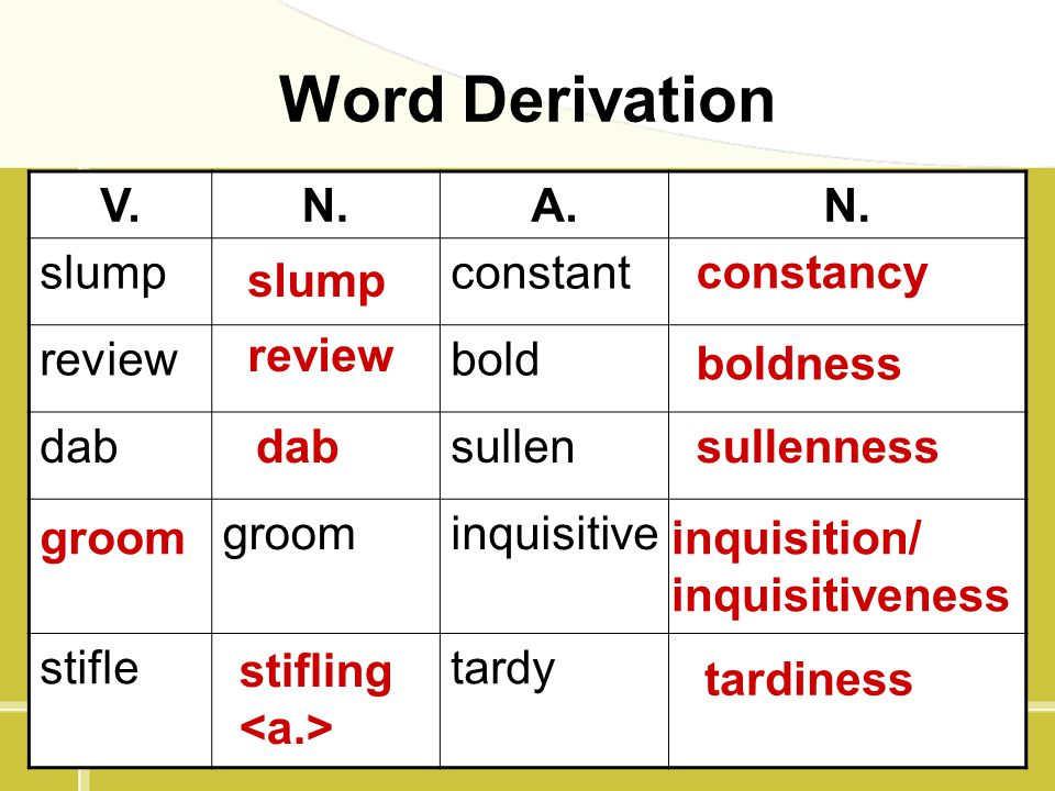 Word Derivation V. N. A. slump constant review bold dab sullen groom