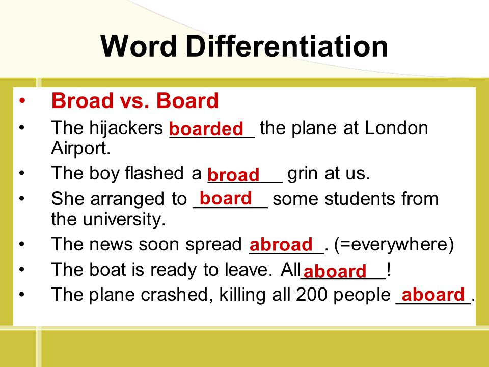 Word Differentiation Broad vs. Board