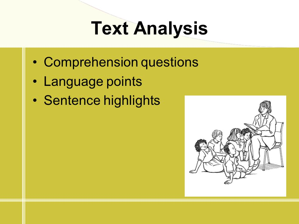 Text Analysis Comprehension questions Language points