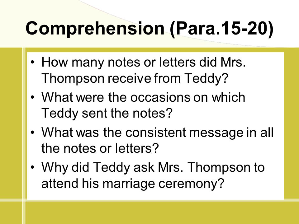 Comprehension (Para.15-20)