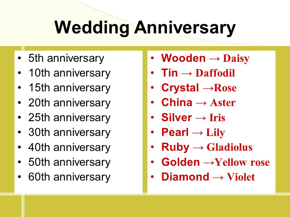 Wedding Anniversary 5th anniversary 10th anniversary 15th anniversary