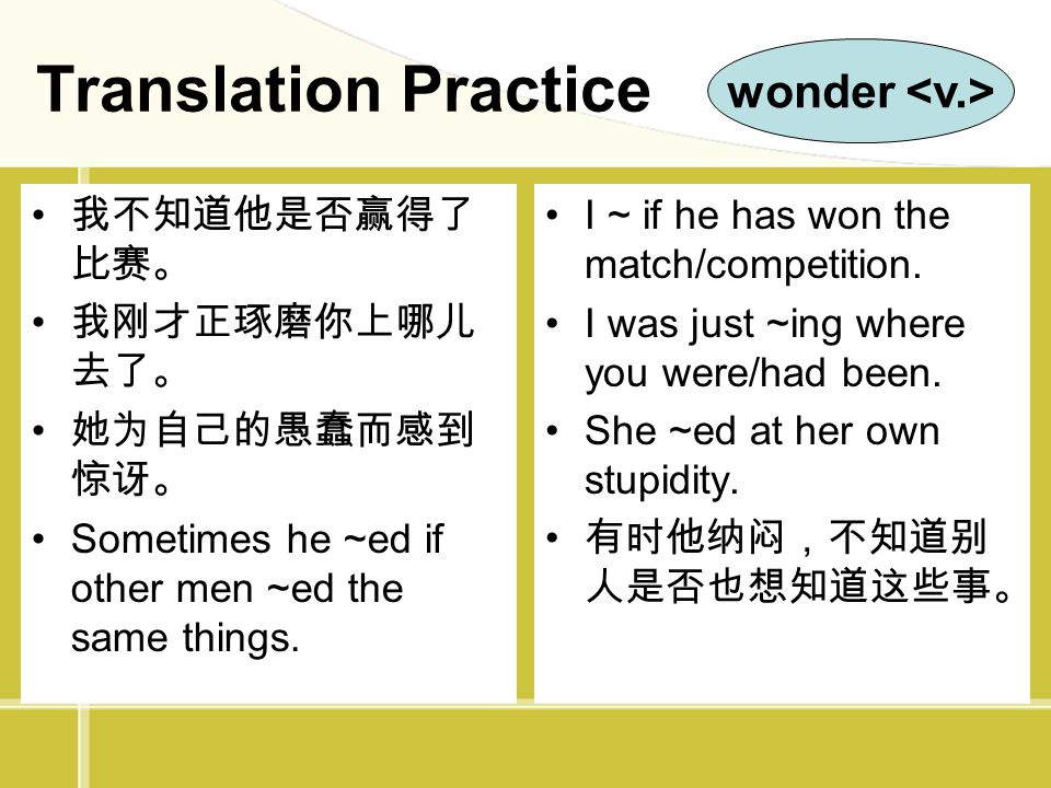 Translation Practice wonder <v.> 我不知道他是否赢得了比赛。 我刚才正琢磨你上哪儿去了。