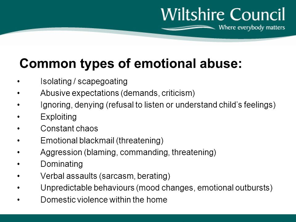 Common types of emotional abuse: