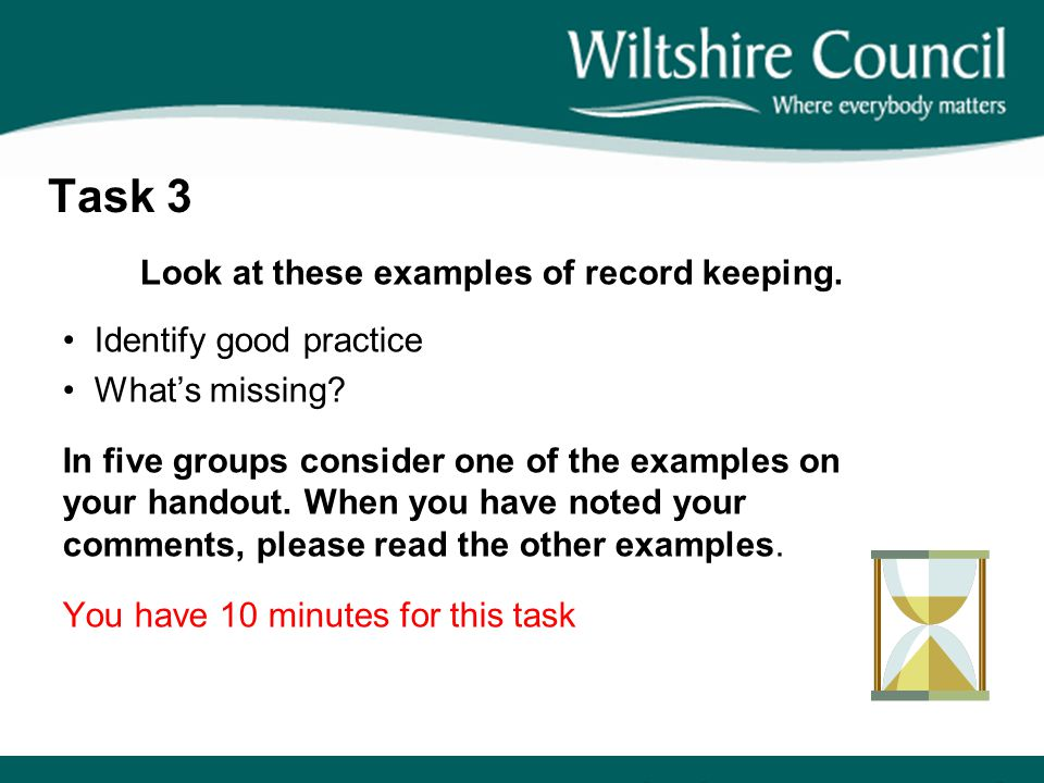 Look at these examples of record keeping.
