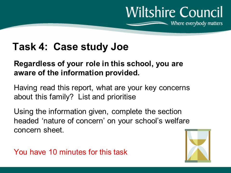 Task 4: Case study Joe Regardless of your role in this school, you are aware of the information provided.