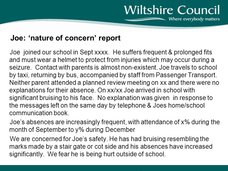 Joe: 'nature of concern' report