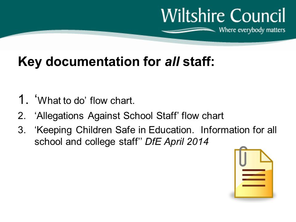 Key documentation for all staff: 'What to do' flow chart.