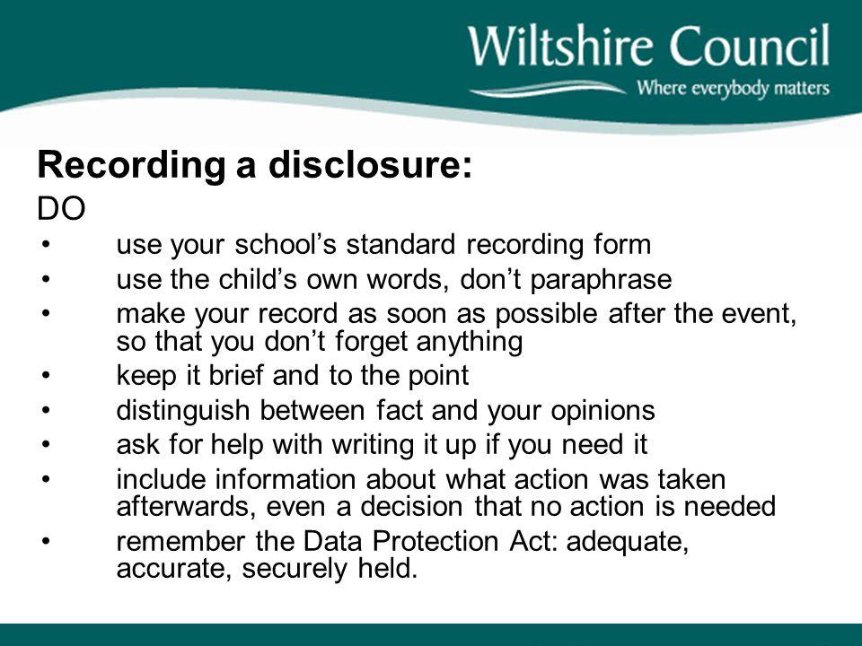 Recording a disclosure: DO