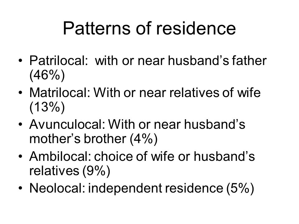 Patterns of residence Patrilocal: with or near husband's father (46%)