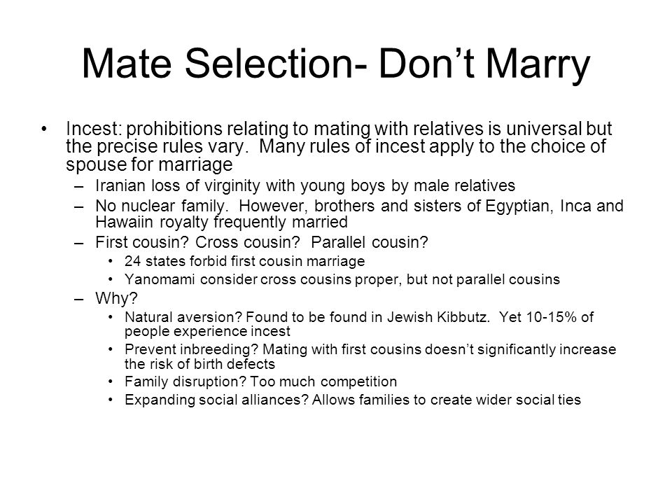 Mate Selection- Don't Marry