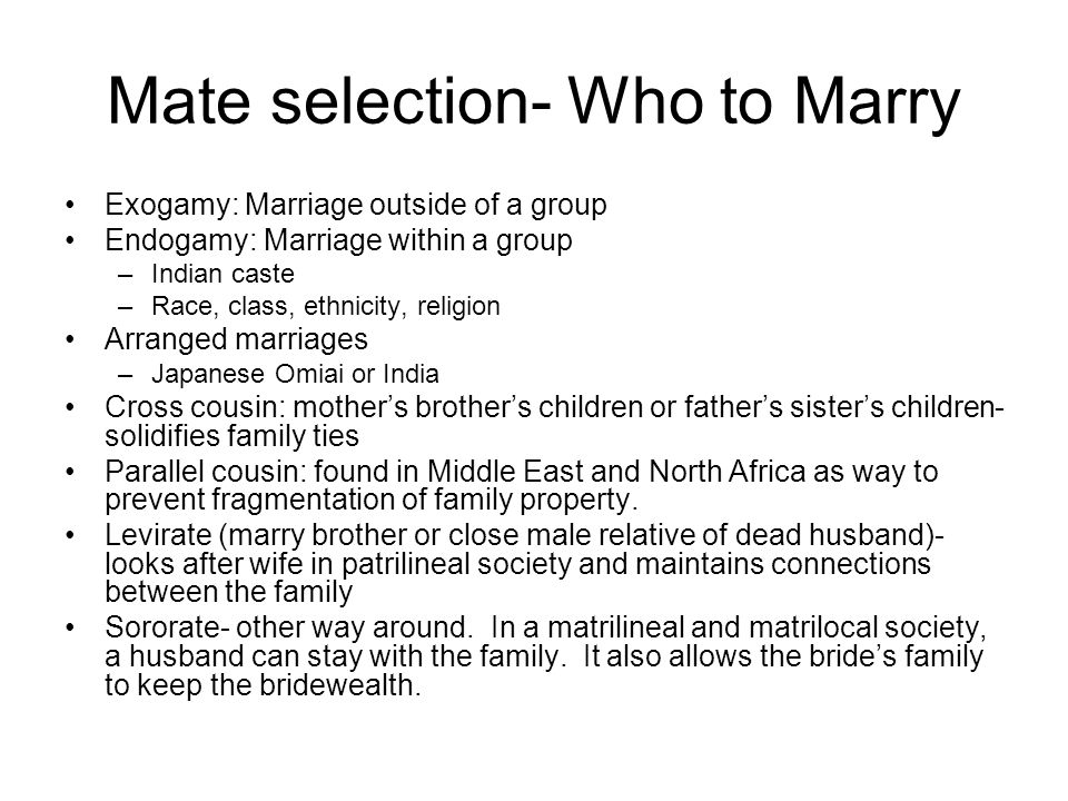 Mate selection- Who to Marry