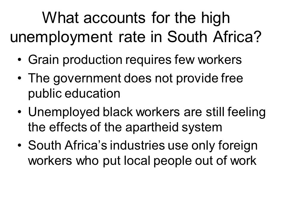 What accounts for the high unemployment rate in South Africa