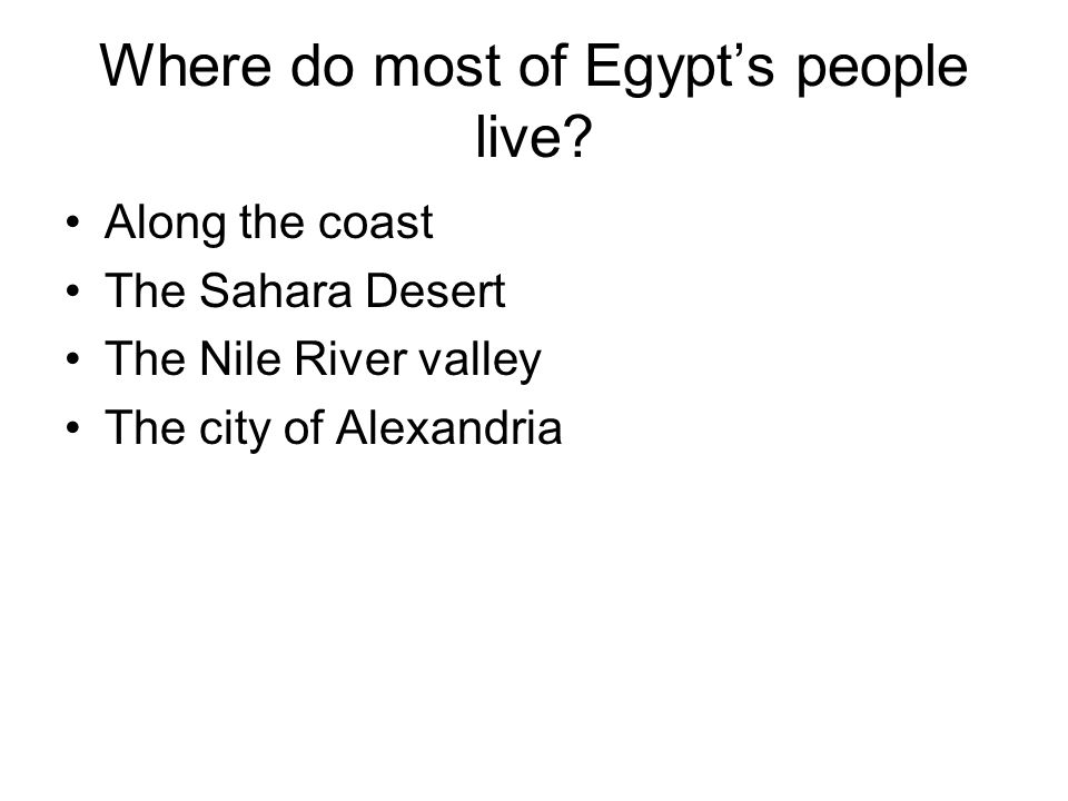 Where do most of Egypt's people live