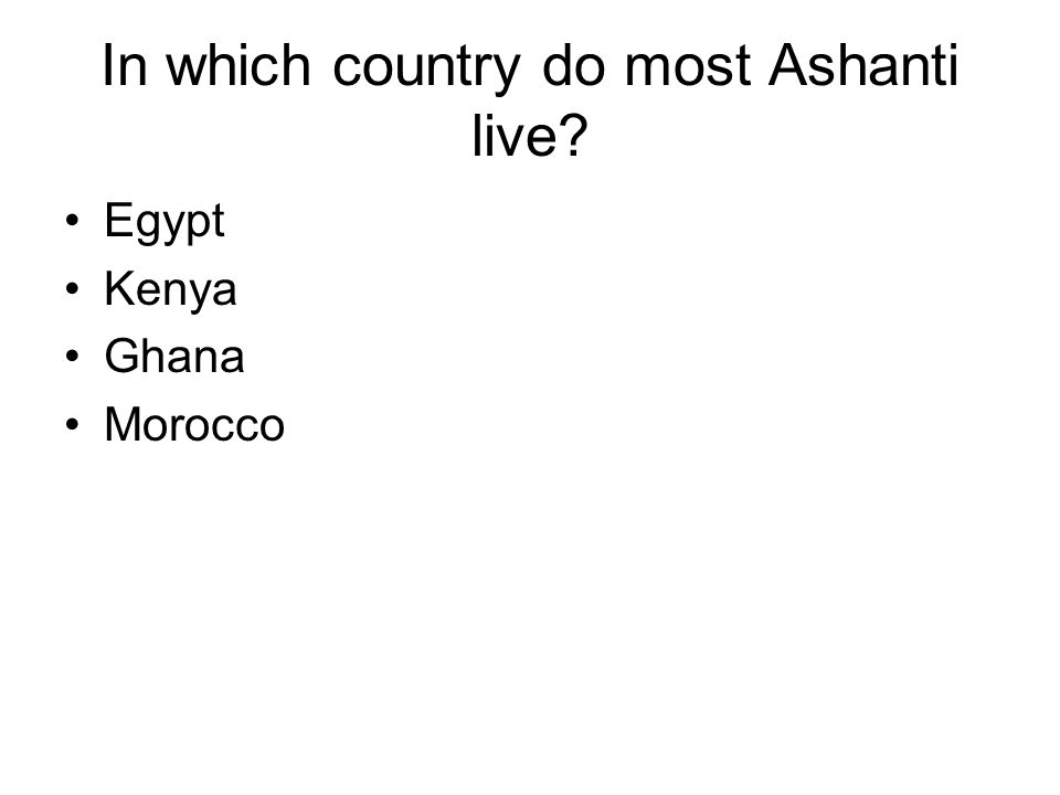 In which country do most Ashanti live